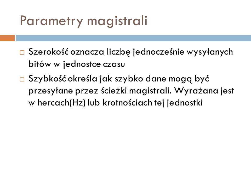 Parametry magistrali Szerokość oznacza liczbę jednocześnie wysyłanych bitów w jednostce czasu.