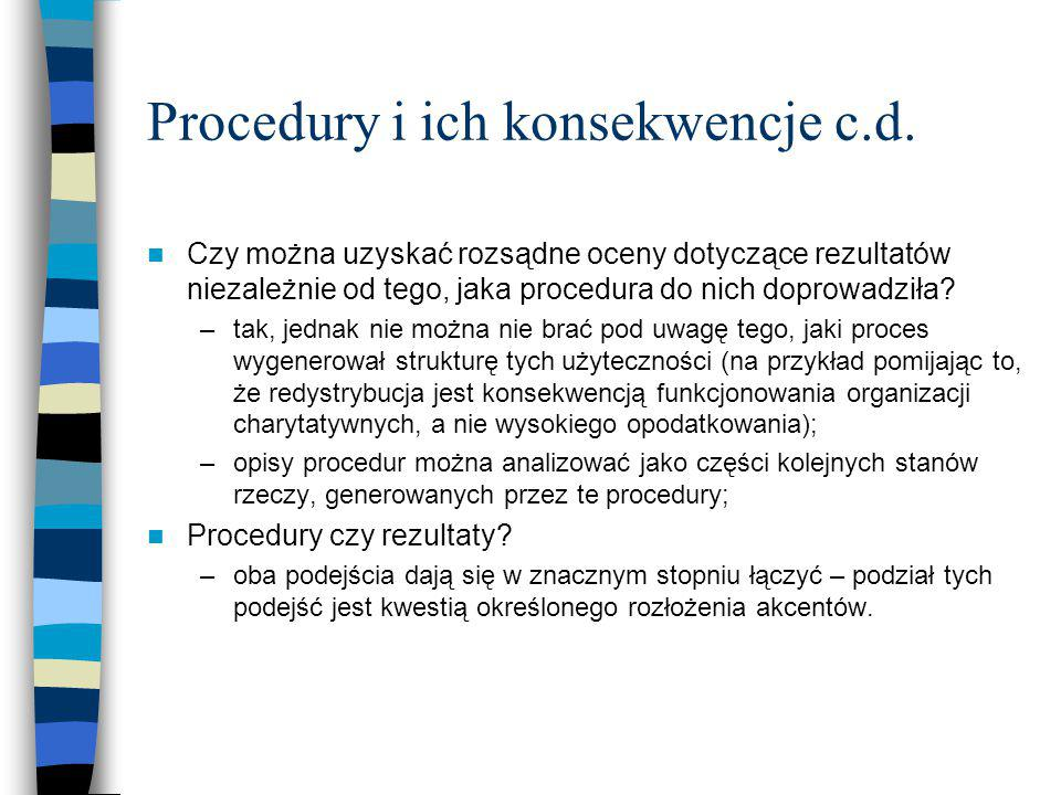Procedury i ich konsekwencje c.d.