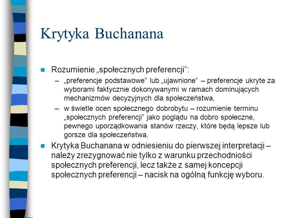"""Krytyka Buchanana Rozumienie """"społecznych preferencji :"""