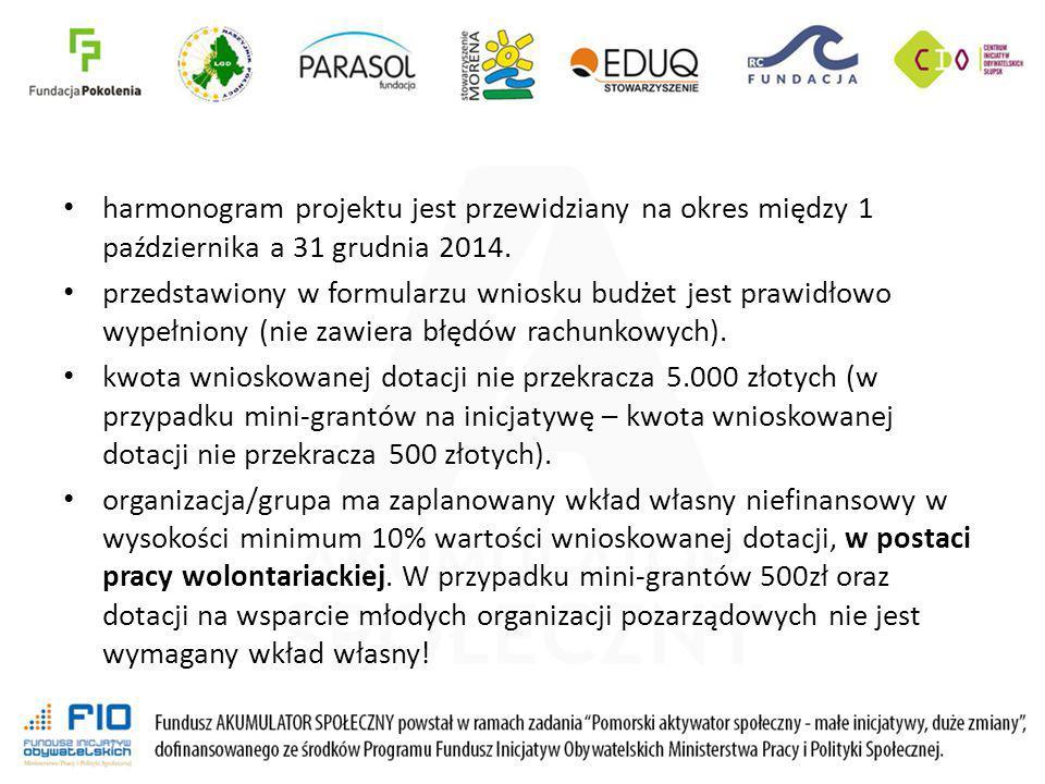 harmonogram projektu jest przewidziany na okres między 1 października a 31 grudnia 2014.