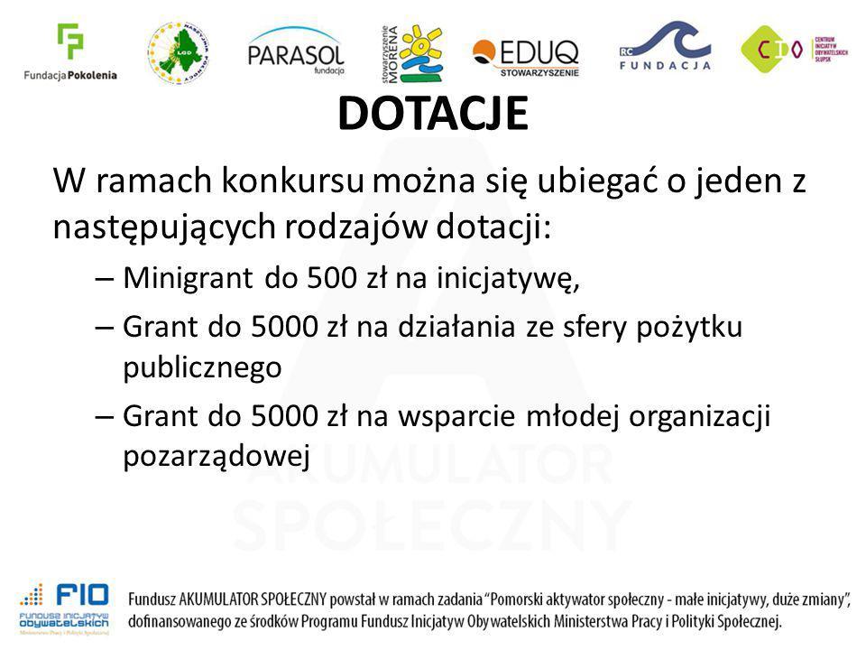 DOTACJE W ramach konkursu można się ubiegać o jeden z następujących rodzajów dotacji: Minigrant do 500 zł na inicjatywę,