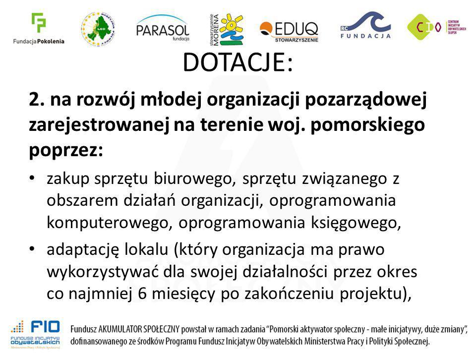 DOTACJE: 2. na rozwój młodej organizacji pozarządowej zarejestrowanej na terenie woj. pomorskiego poprzez: