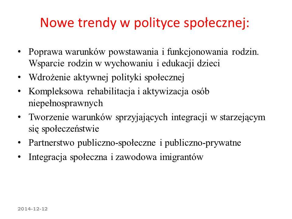 Nowe trendy w polityce społecznej: