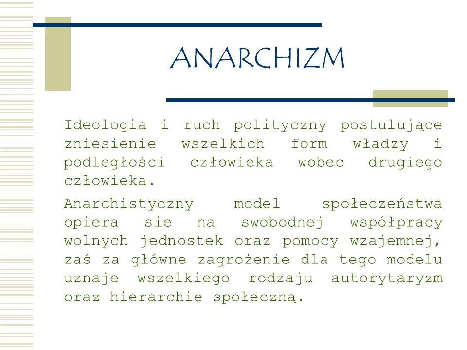 ANARCHIZM Ideologia i ruch polityczny postulujące zniesienie wszelkich form władzy i podległości człowieka wobec drugiego człowieka.