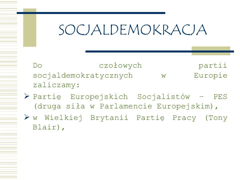 SOCJALDEMOKRACJA Do czołowych partii socjaldemokratycznych w Europie zaliczamy: