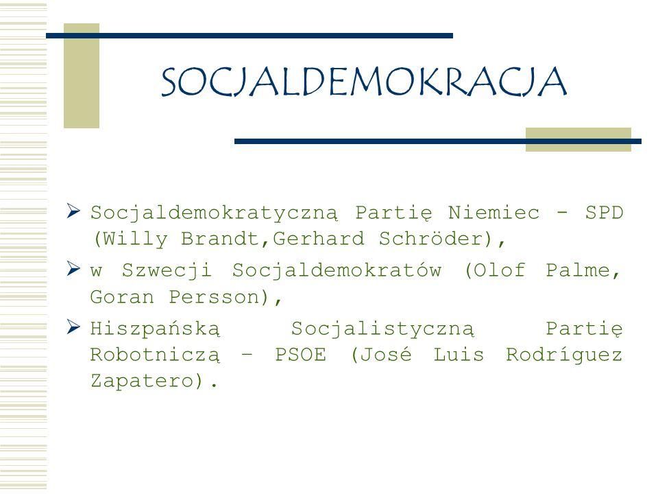 SOCJALDEMOKRACJA Socjaldemokratyczną Partię Niemiec - SPD (Willy Brandt,Gerhard Schröder), w Szwecji Socjaldemokratów (Olof Palme, Goran Persson),