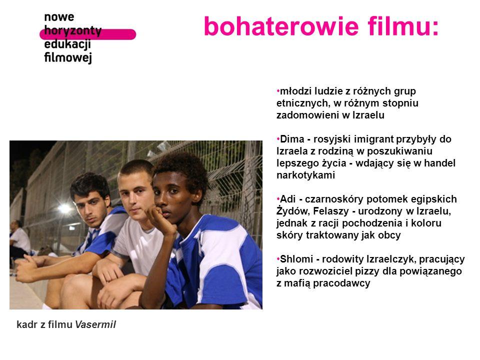 bohaterowie filmu: młodzi ludzie z różnych grup etnicznych, w różnym stopniu zadomowieni w Izraelu.