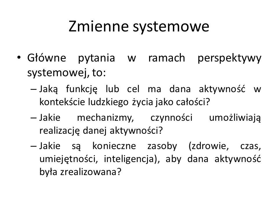 Zmienne systemowe Główne pytania w ramach perspektywy systemowej, to: