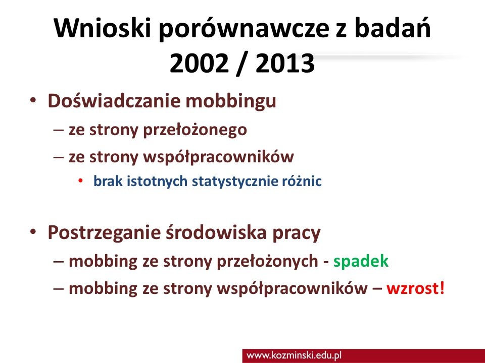 Wnioski porównawcze z badań 2002 / 2013