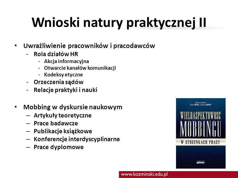 Wnioski natury praktycznej II