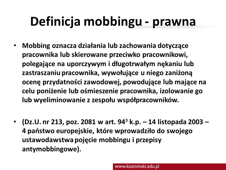 Definicja mobbingu - prawna