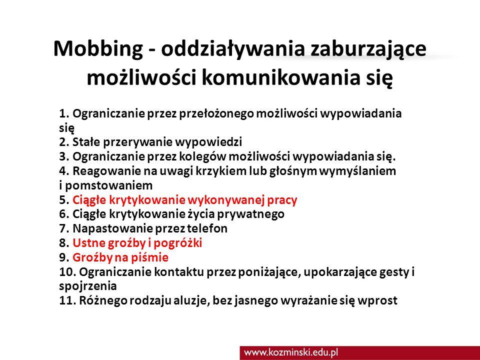 Mobbing - oddziaływania zaburzające możliwości komunikowania się