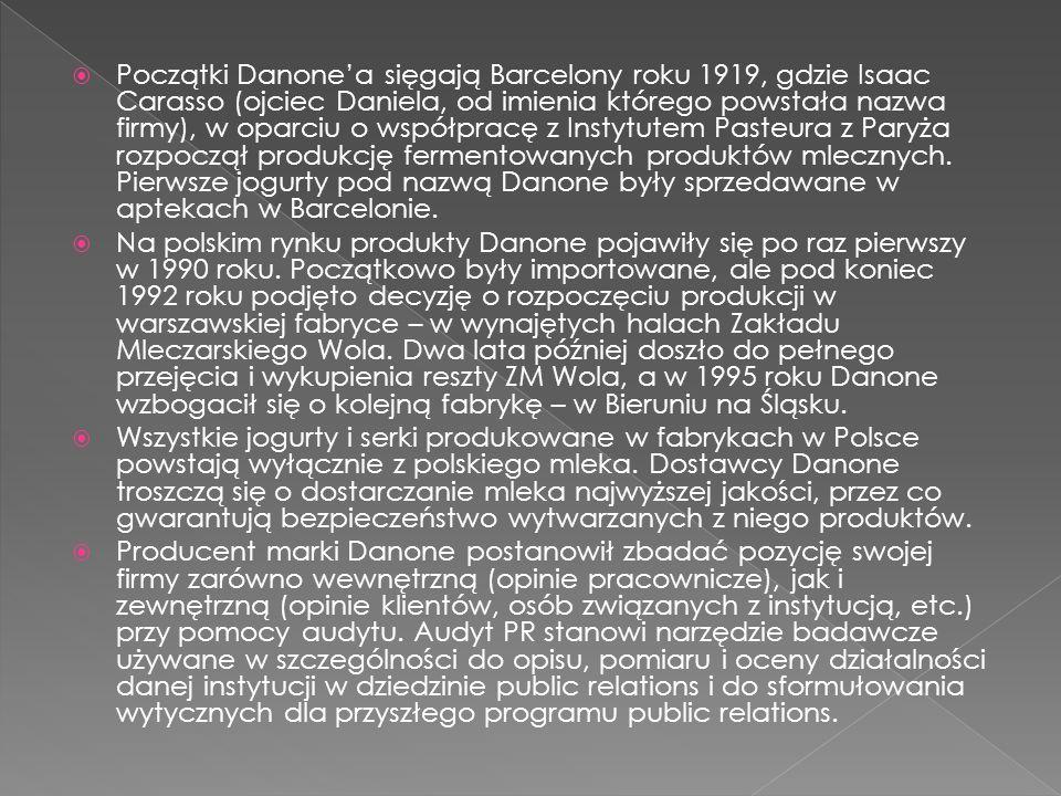 Początki Danone'a sięgają Barcelony roku 1919, gdzie Isaac Carasso (ojciec Daniela, od imienia którego powstała nazwa firmy), w oparciu o współpracę z Instytutem Pasteura z Paryża rozpoczął produkcję fermentowanych produktów mlecznych. Pierwsze jogurty pod nazwą Danone były sprzedawane w aptekach w Barcelonie.