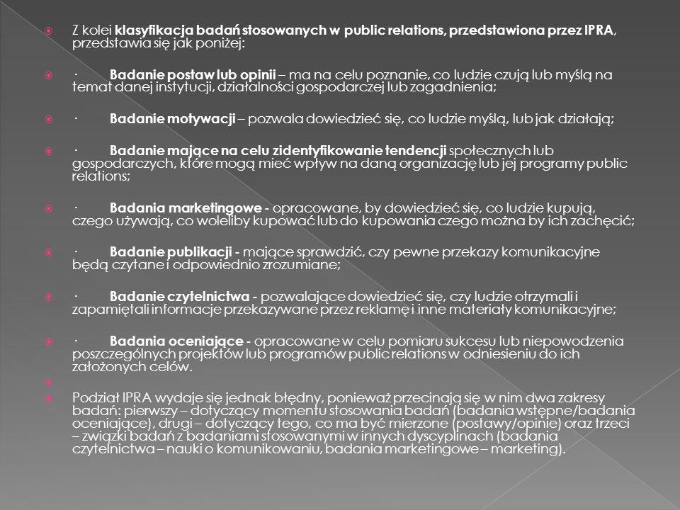 Z kolei klasyfikacja badań stosowanych w public relations, przedstawiona przez IPRA, przedstawia się jak poniżej:
