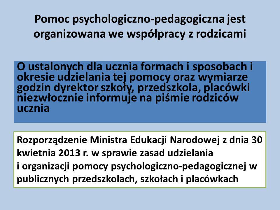 Pomoc psychologiczno-pedagogiczna jest organizowana we współpracy z rodzicami
