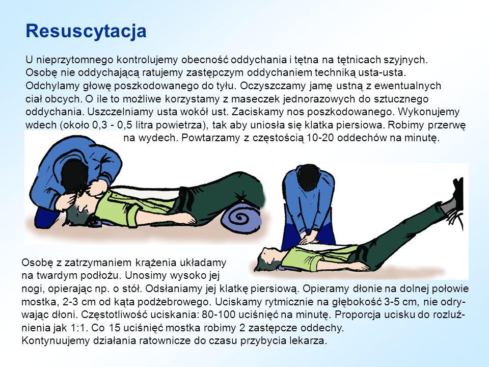 Resuscytacja U nieprzytomnego kontrolujemy obecność oddychania i tętna na tętnicach szyjnych.