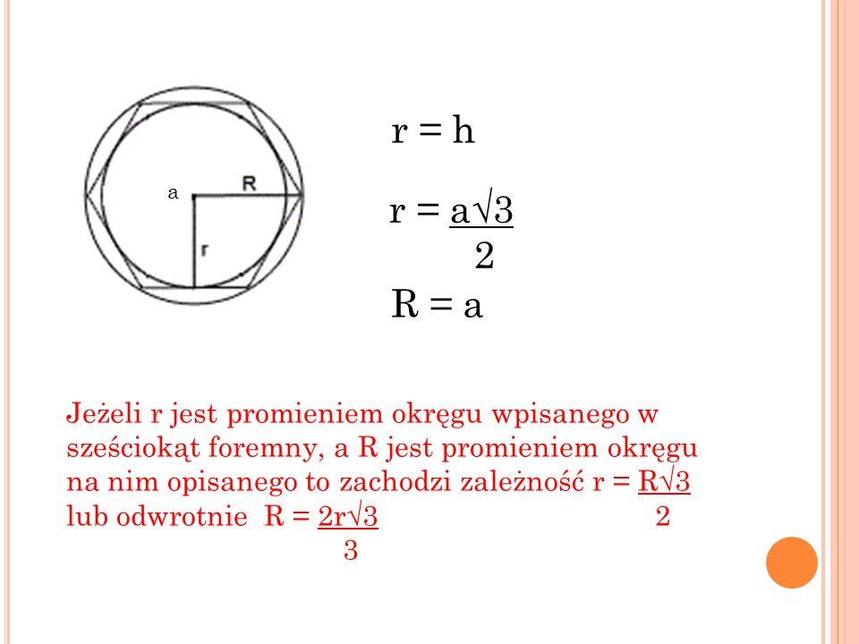 r = h a. r = a√3. 2. R = a.