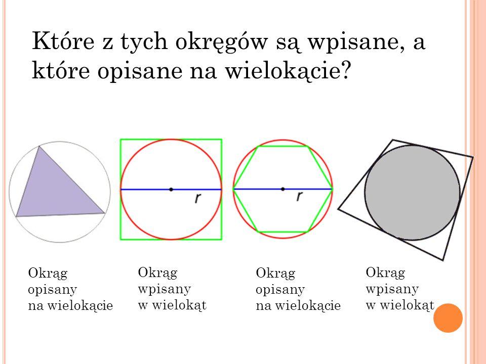Które z tych okręgów są wpisane, a które opisane na wielokącie