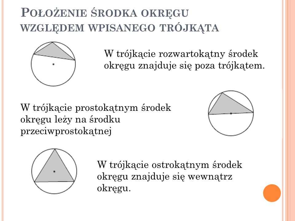 Położenie środka okręgu względem wpisanego trójkąta