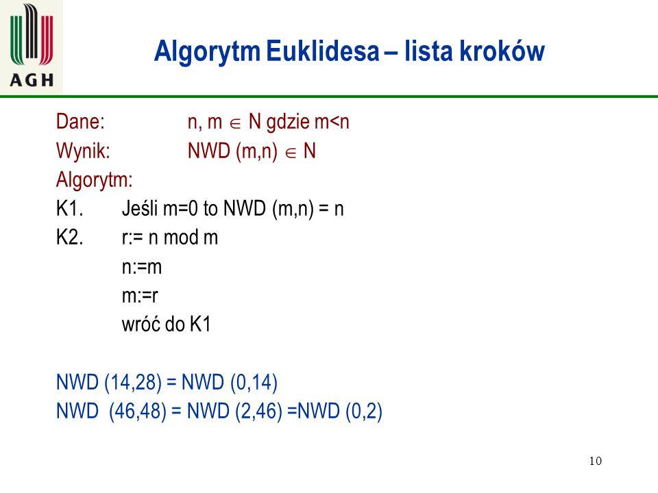 Algorytm Euklidesa – lista kroków