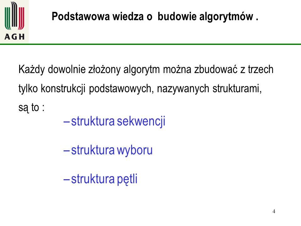 struktura sekwencji struktura wyboru struktura pętli