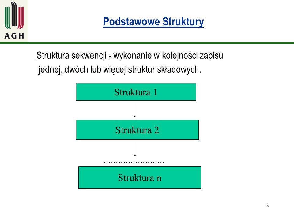 Podstawowe Struktury Struktura sekwencji - wykonanie w kolejności zapisu. jednej, dwóch lub więcej struktur składowych.