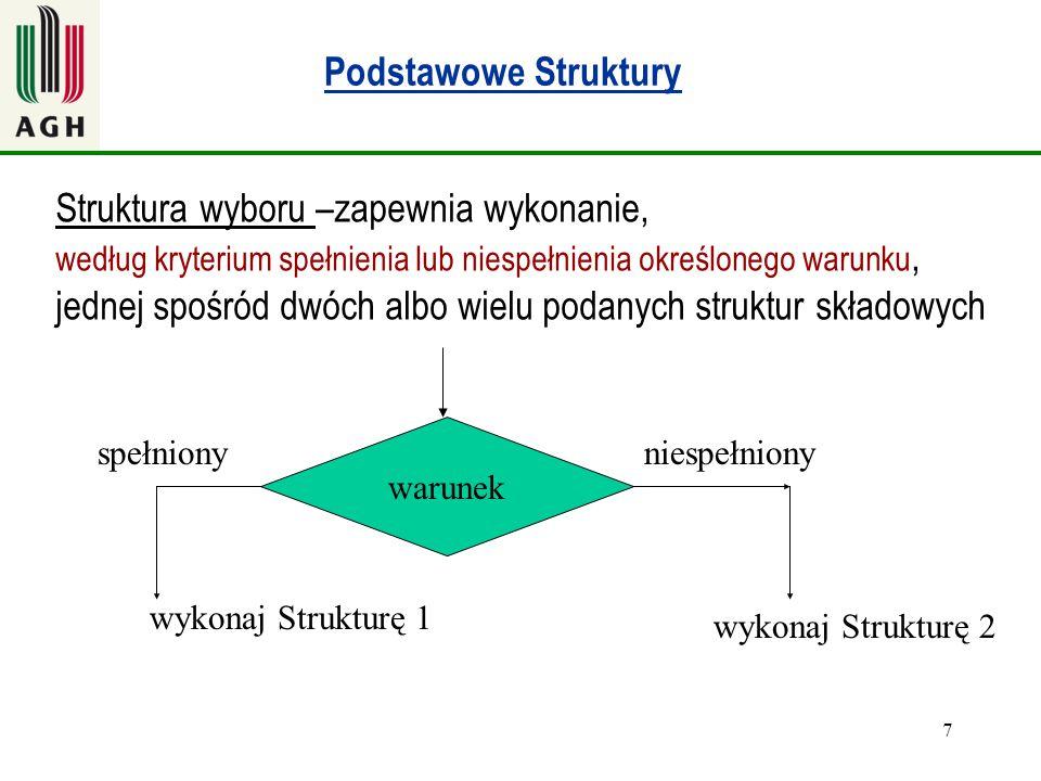 Struktura wyboru –zapewnia wykonanie,