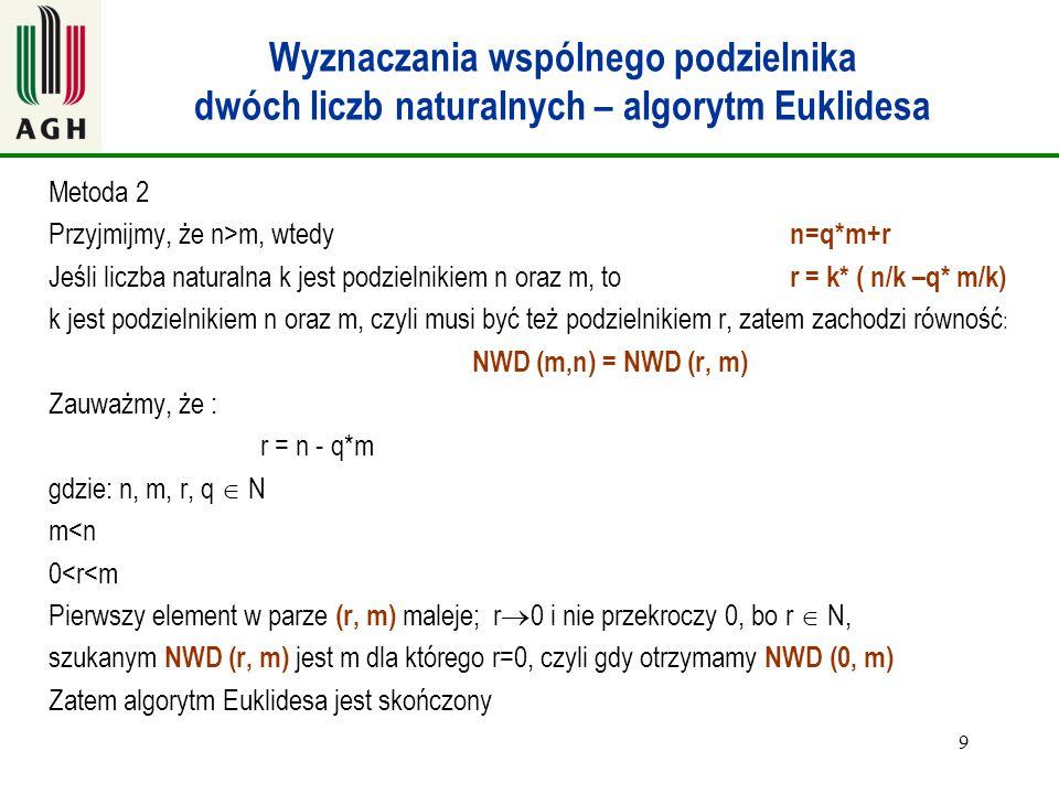 Wyznaczania wspólnego podzielnika dwóch liczb naturalnych – algorytm Euklidesa