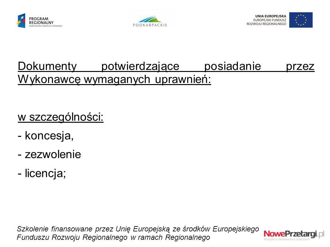 Dokumenty potwierdzające posiadanie przez Wykonawcę wymaganych uprawnień: