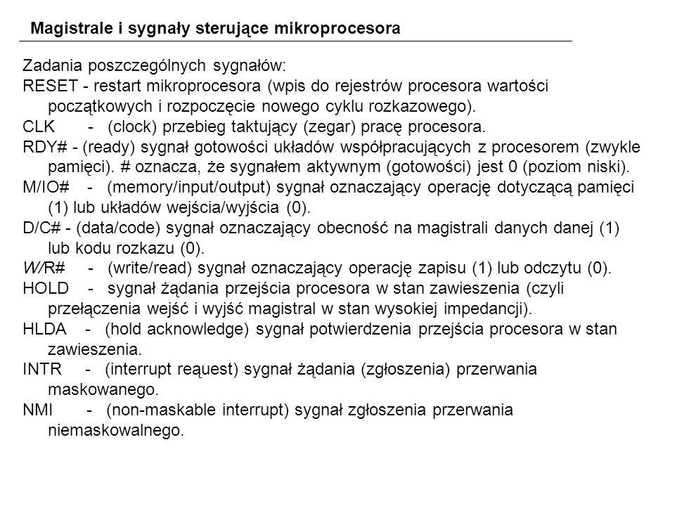 Magistrale i sygnały sterujące mikroprocesora