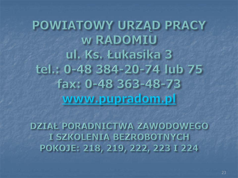 POWIATOWY URZĄD PRACY w RADOMIU ul. Ks. Łukasika 3 tel