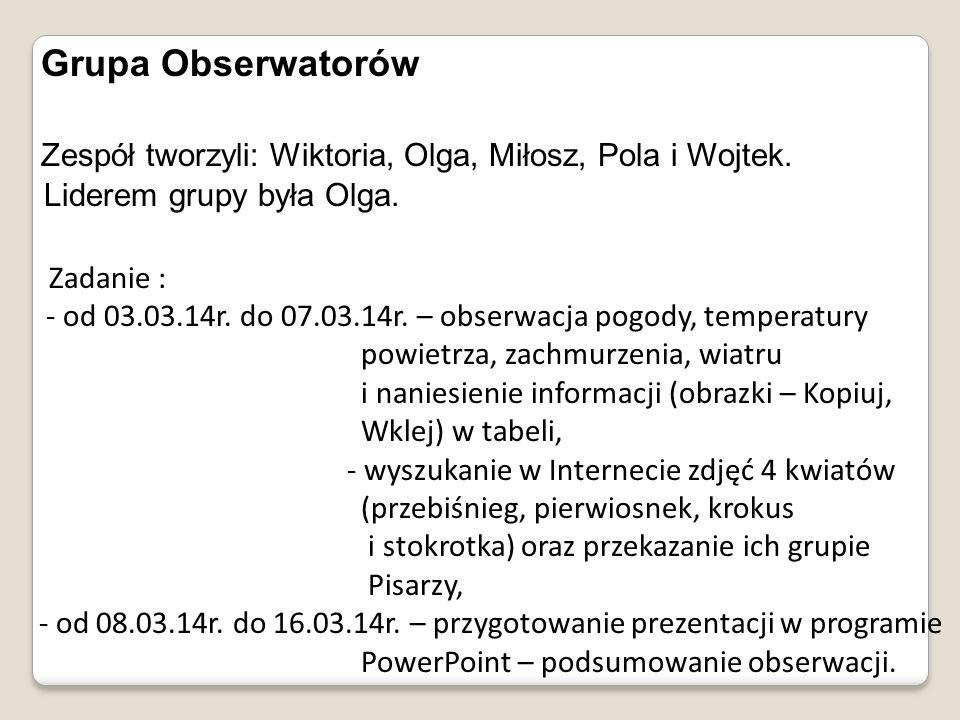 Zespół tworzyli: Wiktoria, Olga, Miłosz, Pola i Wojtek.