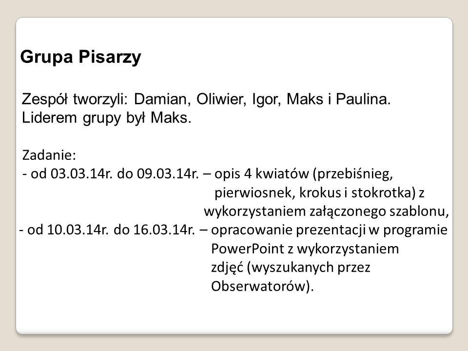 Grupa Pisarzy Zespół tworzyli: Damian, Oliwier, Igor, Maks i Paulina.