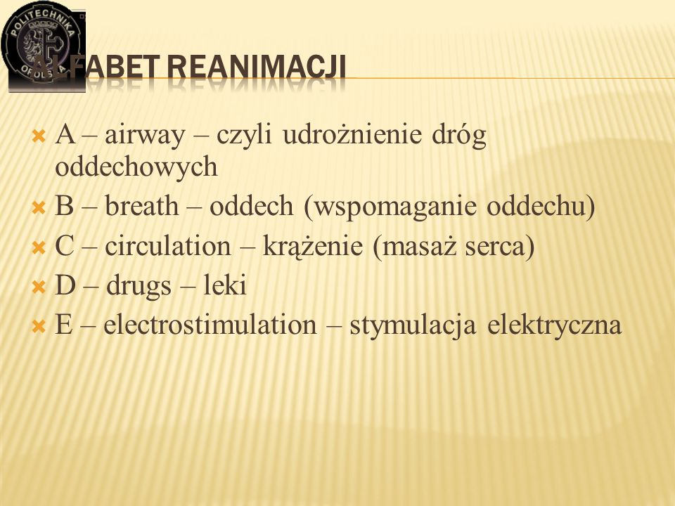 Alfabet reanimacji A – airway – czyli udrożnienie dróg oddechowych