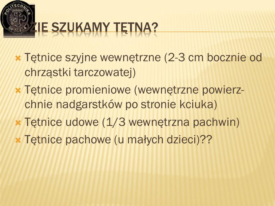 Gdzie szukamy tętna Tętnice szyjne wewnętrzne (2-3 cm bocznie od chrząstki tarczowatej)
