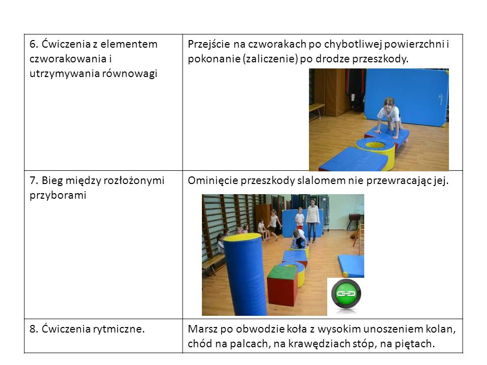 6. Ćwiczenia z elementem czworakowania i utrzymywania równowagi