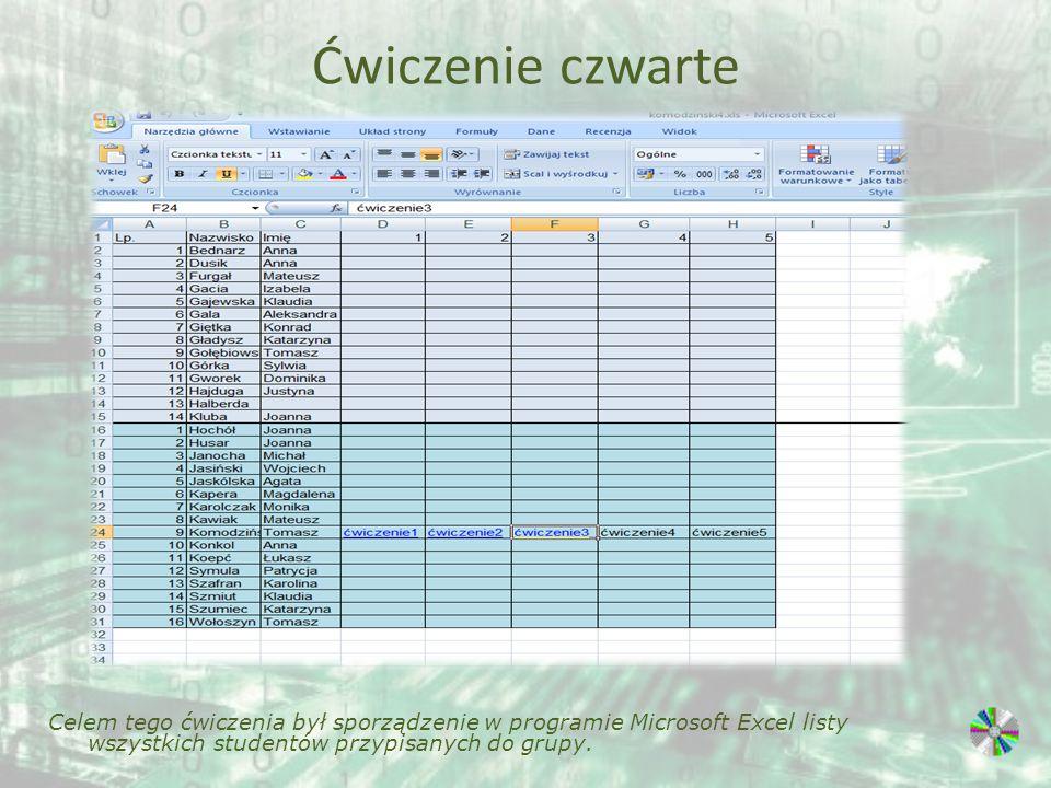 Ćwiczenie czwarte Celem tego ćwiczenia był sporządzenie w programie Microsoft Excel listy wszystkich studentów przypisanych do grupy.