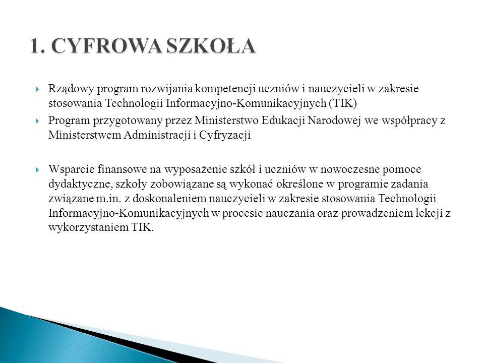 1. CYFROWA SZKOŁA Rządowy program rozwijania kompetencji uczniów i nauczycieli w zakresie stosowania Technologii Informacyjno-Komunikacyjnych (TIK)