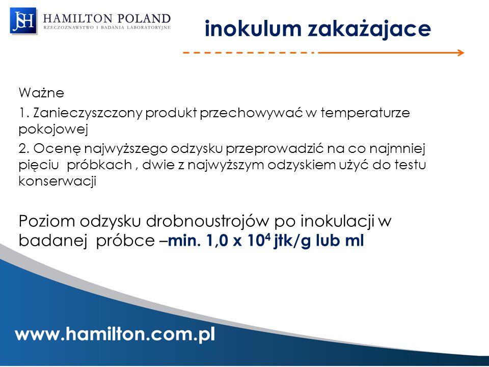 inokulum zakażajace Ważne. 1. Zanieczyszczony produkt przechowywać w temperaturze pokojowej.