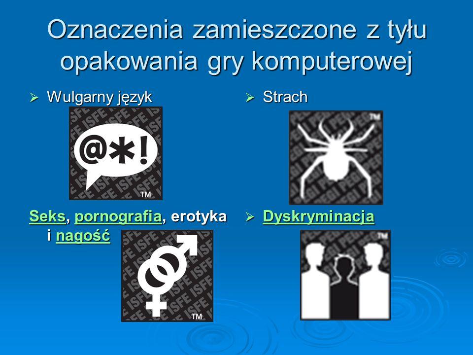 Oznaczenia zamieszczone z tyłu opakowania gry komputerowej