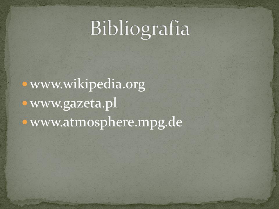 Bibliografia www.wikipedia.org www.gazeta.pl www.atmosphere.mpg.de
