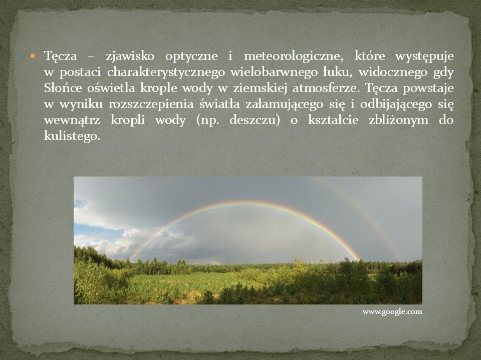 Tęcza – zjawisko optyczne i meteorologiczne, które występuje w postaci charakterystycznego wielobarwnego łuku, widocznego gdy Słońce oświetla krople wody w ziemskiej atmosferze. Tęcza powstaje w wyniku rozszczepienia światła załamującego się i odbijającego się wewnątrz kropli wody (np. deszczu) o kształcie zbliżonym do kulistego.