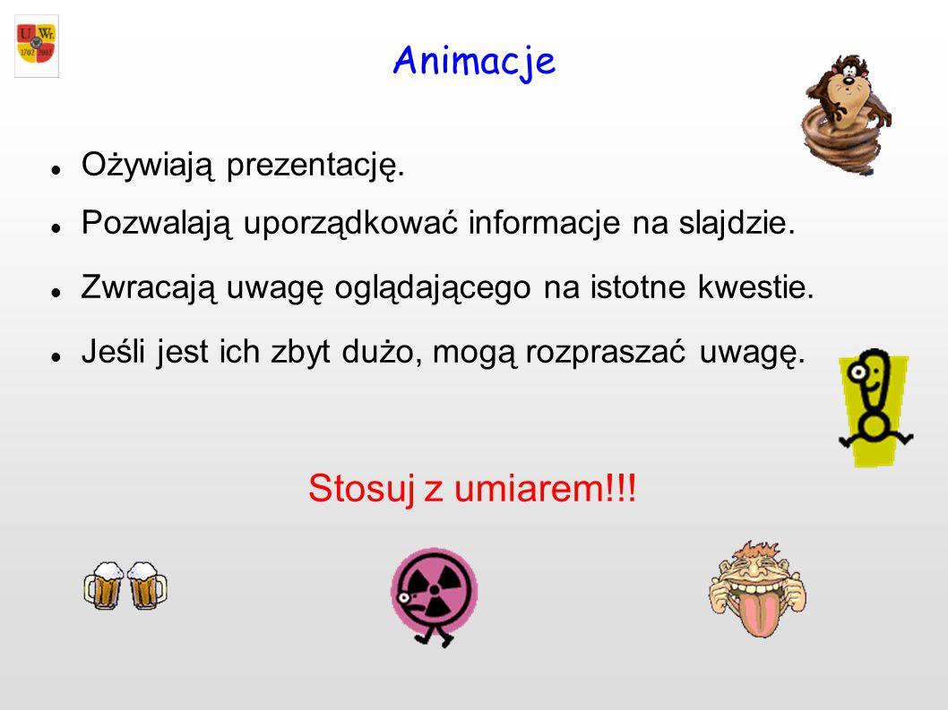 Animacje Stosuj z umiarem!!! Ożywiają prezentację.