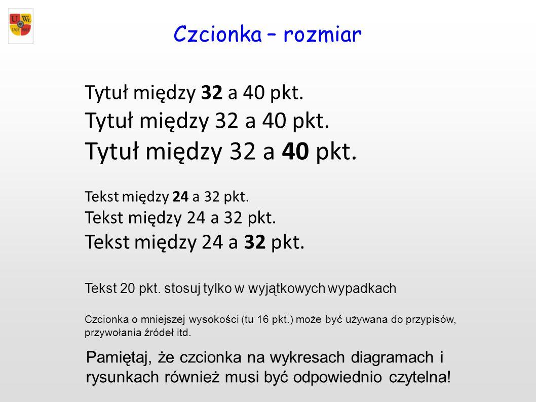 Czcionka – rozmiar Tytuł między 32 a 40 pkt. Tekst między 24 a 32 pkt.