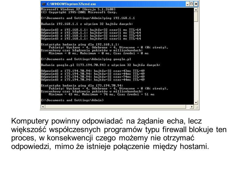Komputery powinny odpowiadać na żądanie echa, lecz większość współczesnych programów typu firewall blokuje ten proces, w konsekwencji czego możemy nie otrzymać odpowiedzi, mimo że istnieje połączenie między hostami.