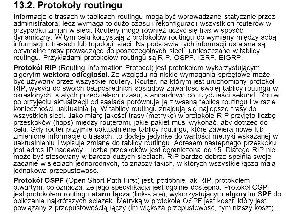 13.2. Protokoły routingu