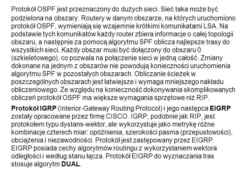 Protokół OSPF jest przeznaczony do dużych sieci