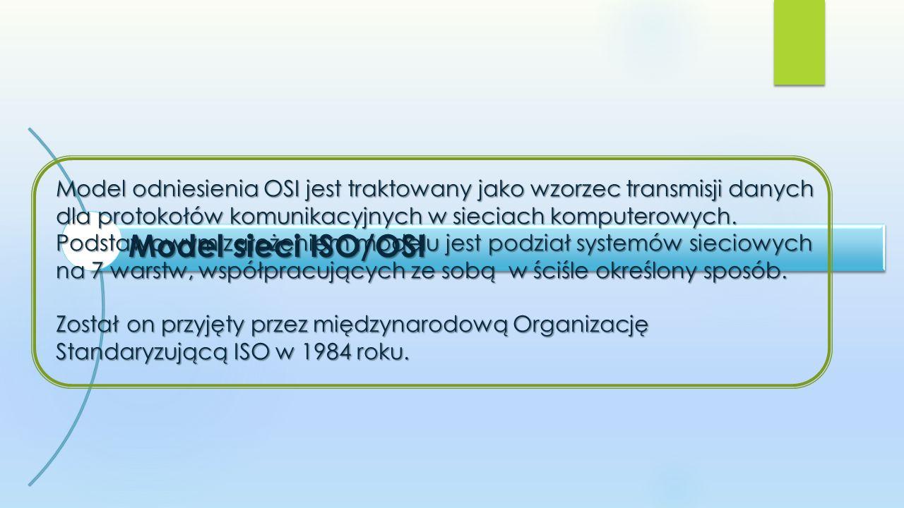 Model odniesienia OSI jest traktowany jako wzorzec transmisji danych dla protokołów komunikacyjnych w sieciach komputerowych. Podstawowym założeniem modelu jest podział systemów sieciowych na 7 warstw, współpracujących ze sobą w ściśle określony sposób. Został on przyjęty przez międzynarodową Organizację Standaryzującą ISO w 1984 roku.
