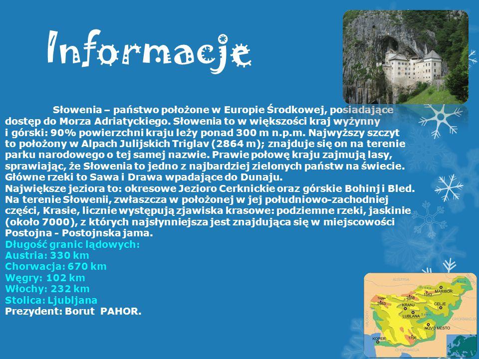 Informacje Słowenia – państwo położone w Europie Środkowej, posiadające dostęp do Morza Adriatyckiego. Słowenia to w większości kraj wyżynny.