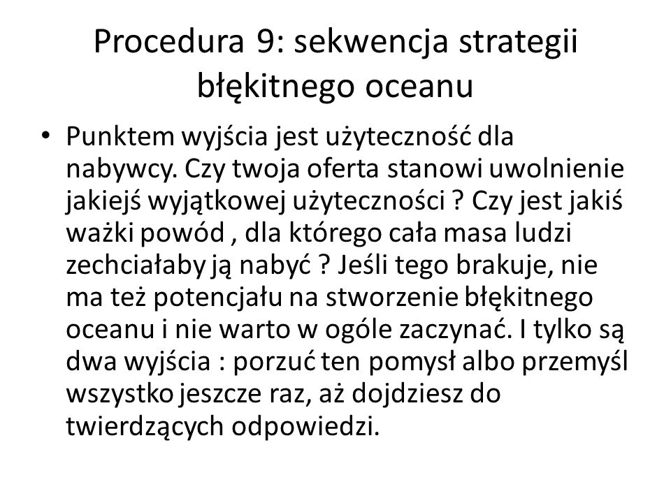 Procedura 9: sekwencja strategii błękitnego oceanu
